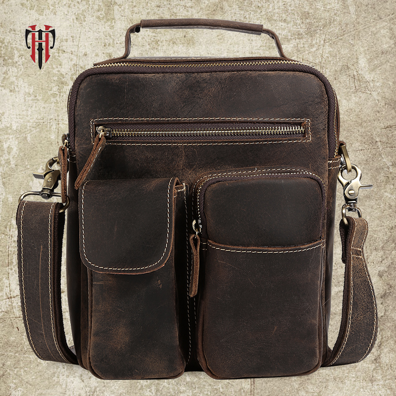 TIANHOO Genuine leather man bags & vintage style crazy horse leather messenger shoulder bags for travel hand bag  TIANHOO Genuine leather man bags & vintage style crazy horse leather messenger shoulder bags for travel hand bag