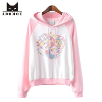 2017 New Pink Blue Women Hoodies Japanese Cartoon Printed Pullover Girly Girl Kawaii Cute Harajuku Full