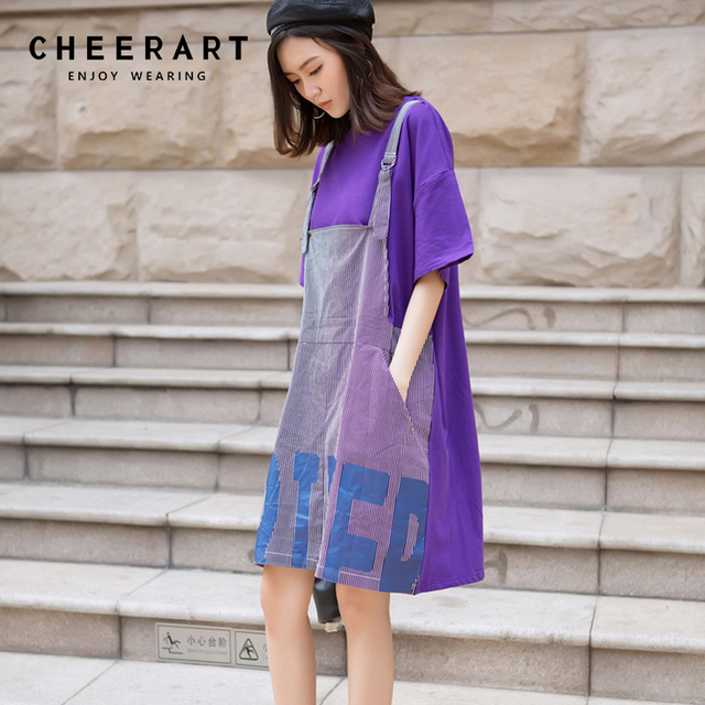 bea899410176 Cheerart Patchwork Purple Dress Women Summer Casual T Shirt Dress Loose  Letter Print Korean Dress Sundress Clothing