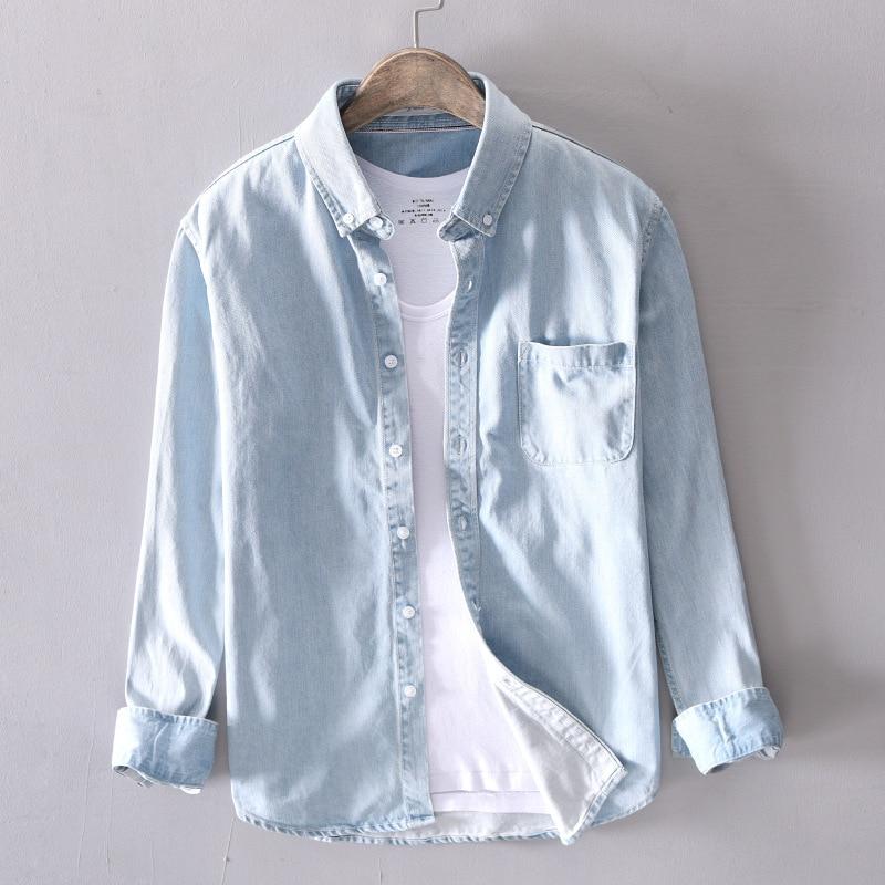d859a8f991 100% Cotton Shirt Men Denim Thin Shirt Long Sleeve Soft One Pockets Slim Denim  Shirt