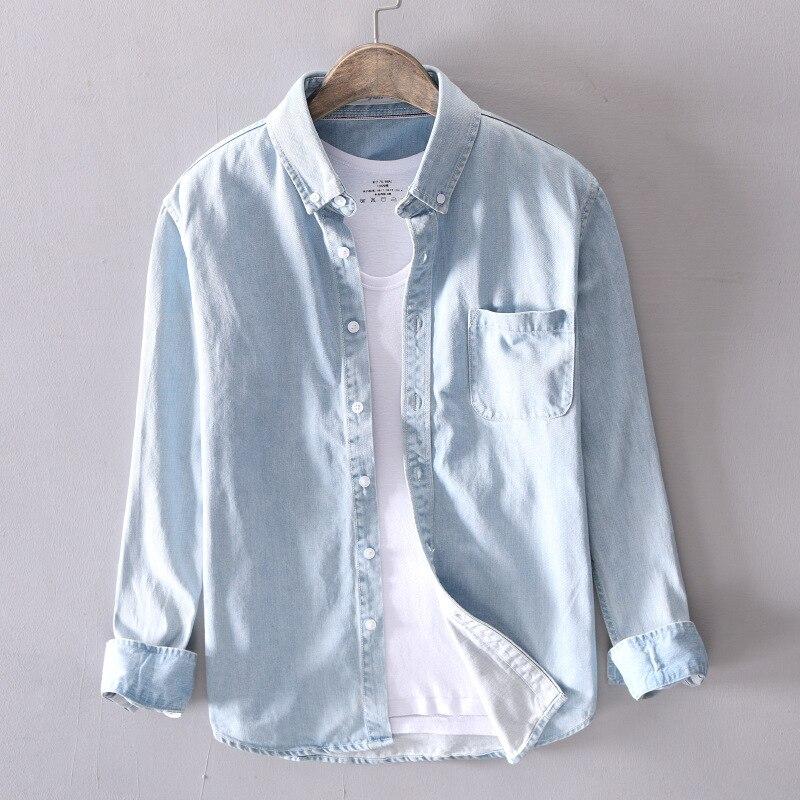 100% Baumwolle Hemd Männer Denim Dünne Hemd Langarm Weichen Ein Taschen Dünne Denim Hemd Männlichen Jeans Cowboy Hemd Herren Tops Ts-497