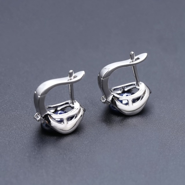 GEM'S BALLET 925 Sterling Silver Stud Earrings 6.48Ct Natural Blue Sapphire Earrings For Women Engagement  Jewelry New Brand
