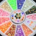 2015 3D Colorido Fluorescente Acrílico Glitters Salon Nail Art Stickers Dicas DIY Decal Decorações com Roda 51GT smt 101