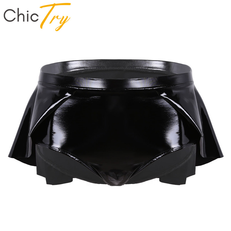 ChicTry Black Patent Leather High Waist Women Sexy Mini Shorts Skirts Hot Pants Rave Clothes Nightclub Party Pole Dance Shorts