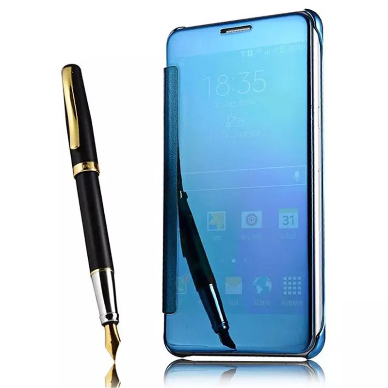 meet 7b0f4 2ba48 US $4.99  For Samsung ON7 2016 J7 Prime Mirror Case Electroplating Clear  View Smart Flip Cover for Samsung J7 prime Screen Protector-in Flip Cases  ...