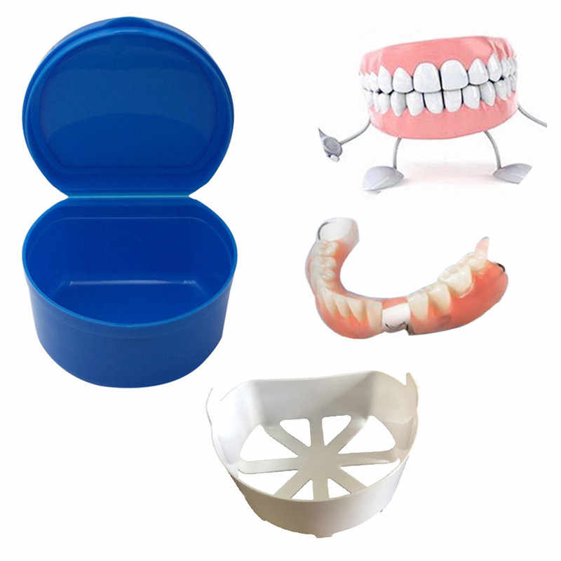 New Denture Bath Box Case Dental False Teeth Storage Box With Hanging Net  Container Inside Network Hanging False Teeth Box