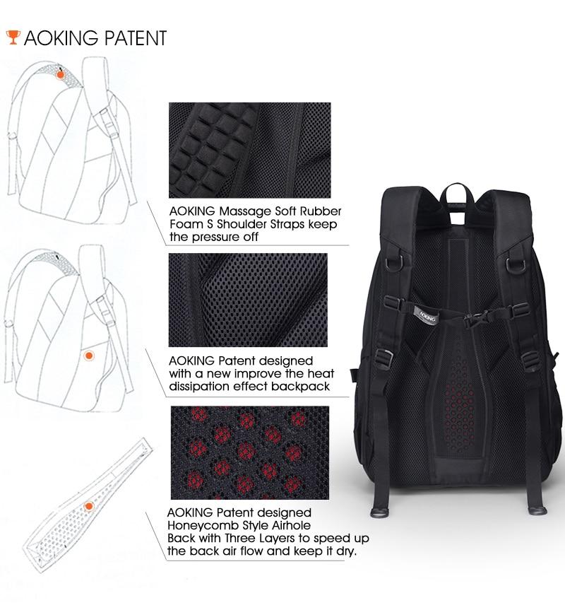 Aoking Original Brand New Patent Design Massage Air Cushion1 Men's Laptop Backpack Men Large Capacity Nylon Comfort Backpacks 9