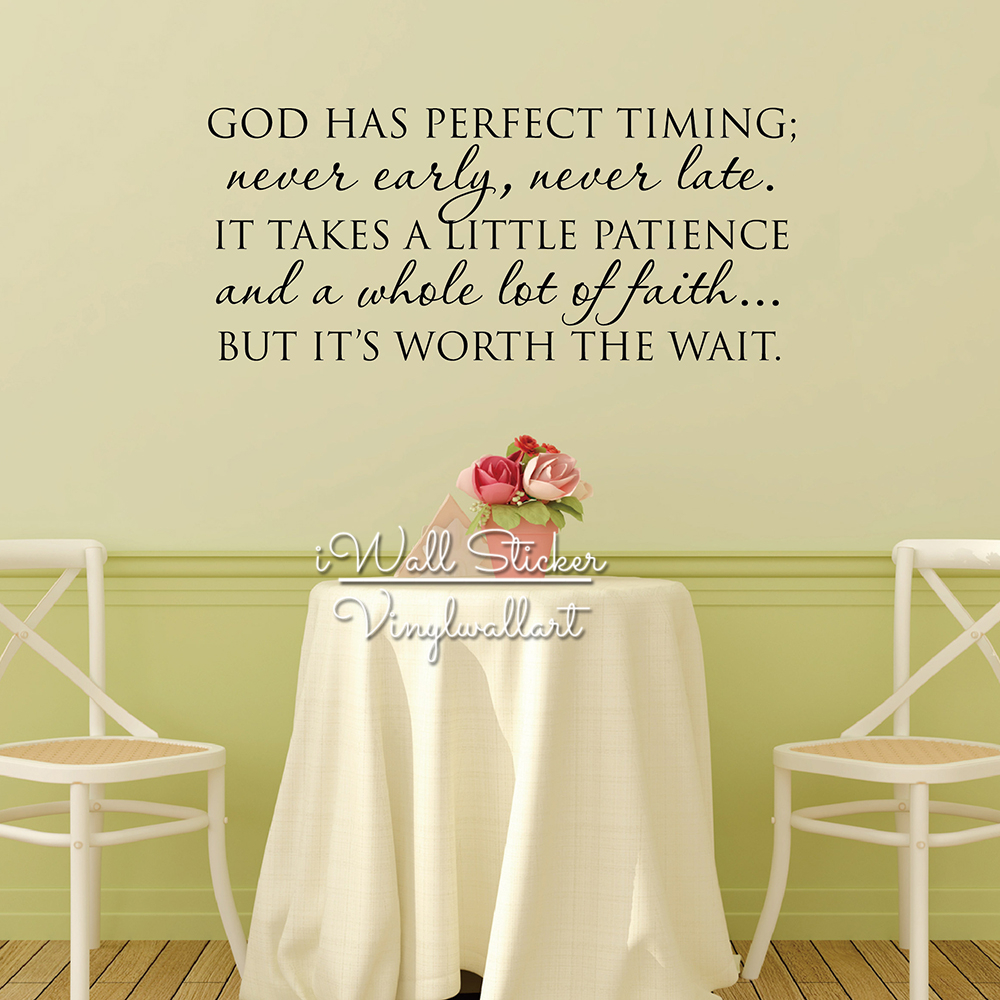 ᗔGod Has Perfect Timing Quote Wall Sticker Motivational Quote Wall ...