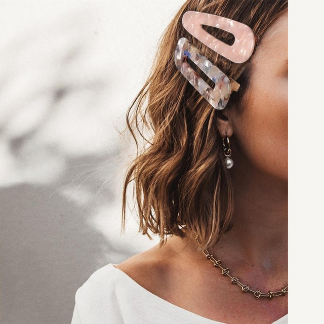 2019 New Women Girls Acrylic Hollow Waterdrop Rectangle Hair Clips Tin Foil Sequins Hairpins Barrettes Headband Hair Accessories