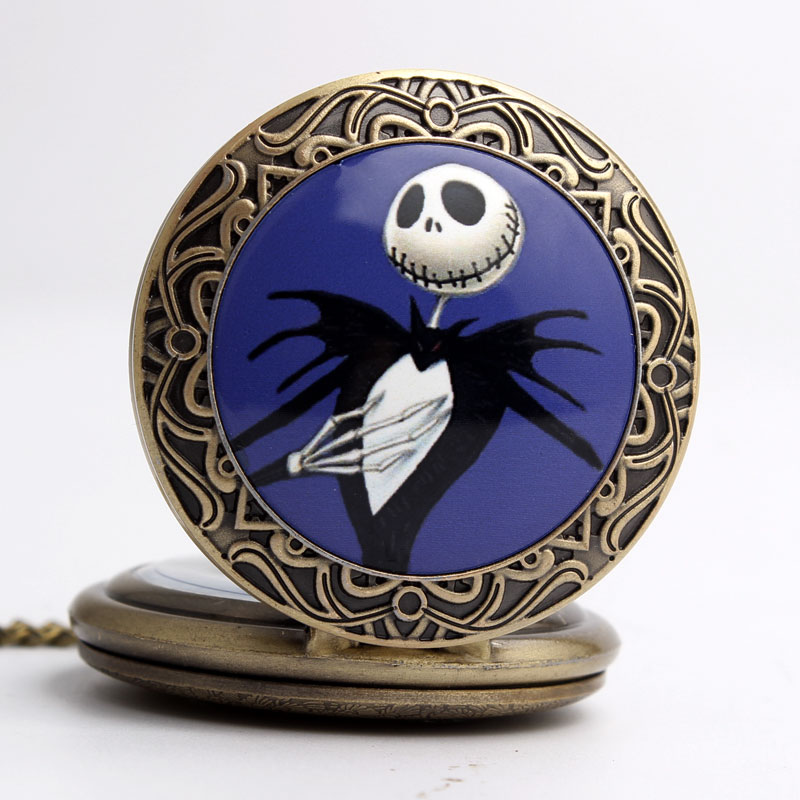 Vintage The Nightmare Before Christmas Necklace Quartz Pocket Watch Chain Jack Skellington Bronze Watch Halloween Christmas Gift womens printed halloween leggings the nightmare before christmas cosplay leggin jack and sally slim design workout girls pants