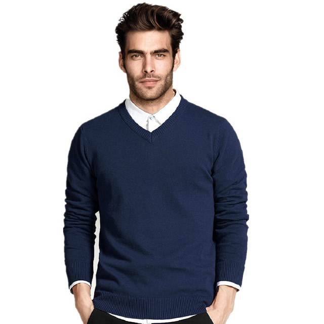 c703448e9 High Quality Winter Sweater Men Knitwear Pullover Slim V Neck Brand ...