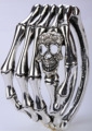 Crânio de esqueleto do osso da mão pulseira motociclista gótico jóias presentes para mulheres antigo prateado D08 dropshipping por atacado