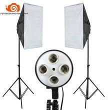 2 pcs embalado Portátil 4 Tomada Cabeça 40*60 cm + 2 m Tripé de Luz, Photo Studio equipamentos de Iluminação Luz De Vídeo Softbox