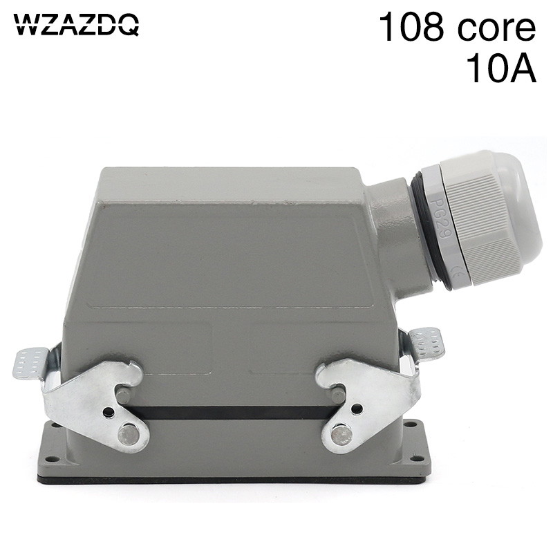 цена на Heavy duty linker 108 cold pressed rectangular air plug hdc-hdd-108 industrial waterproof socket 10A