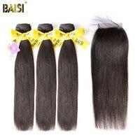 BAISI 100% Unverarbeitetes Europäisches Reines Haarverlängerungen Gerade 8-28 zoll 3 Bundles mit Verschluss Freies Verschiffen, natürliche Farbe