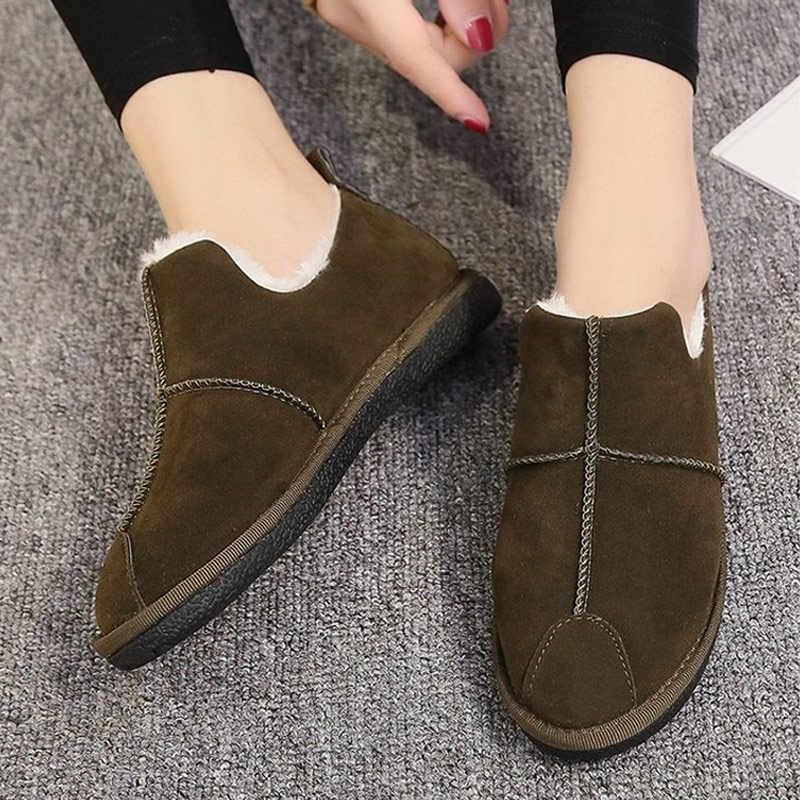 MCCKLE Kadın Rahat Platformu Düz Kış sıcak Kar Botları Bayanlar günlük ayakkabı Kadın Süet Kısa Peluş Kayma Kısa yarım çizmeler