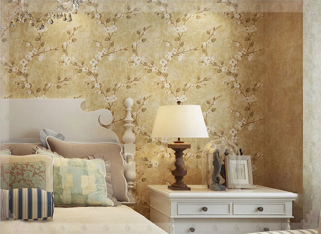 American natural rustic vintage flower wallpaper roll Pastoral Wall ...