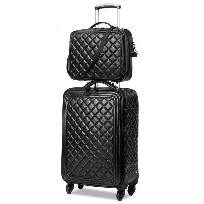 Оптовая продажа! 13 16 20 24 дюймов женские европейские модные искусственная кожа тележки для багажа на Универсальный колеса, мать и сын черный ...