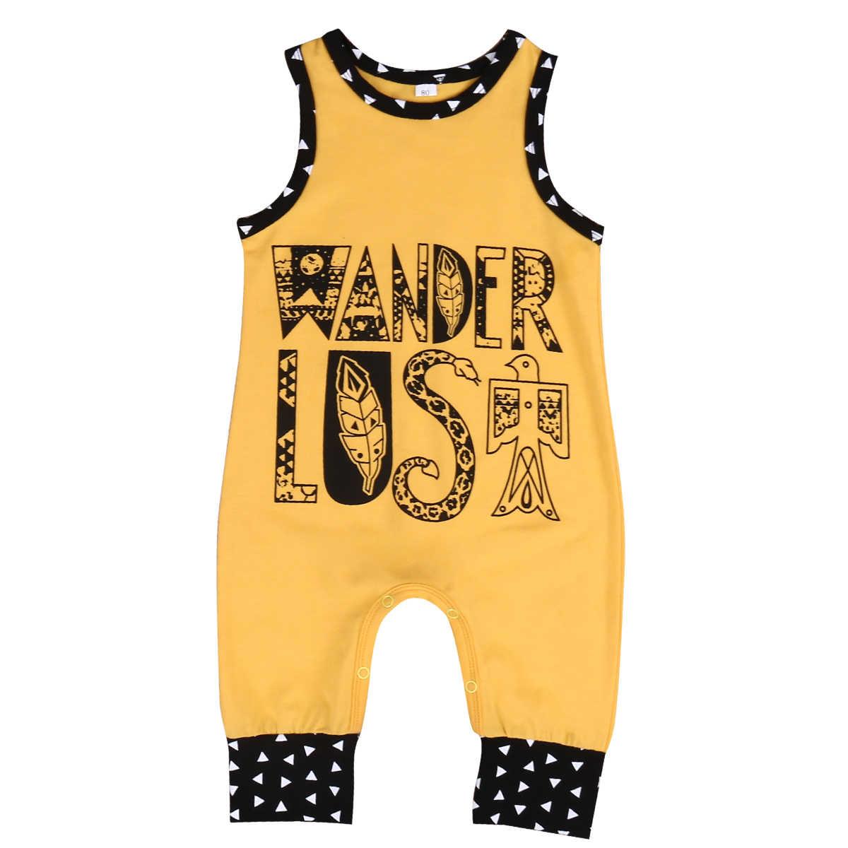 Популярная одежда с буквенным принтом для маленьких мальчиков; милый боди с принтом для маленьких девочек; комбинезон в стиле бохо для малышей; летний костюм