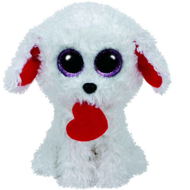 Pyoopeo Ty Beanie Boos 6 15cm Honey Bun Dog with Heart Plush Regular Soft Big-eyed Stuffed Animal Collection Doll Toy with Tag