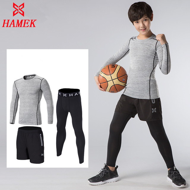 353ad2dd135a 3PCS Quick Dry Sports Suit Boys Running Fitness Compression Underwear Kids  Gym T shirts Tights Sets