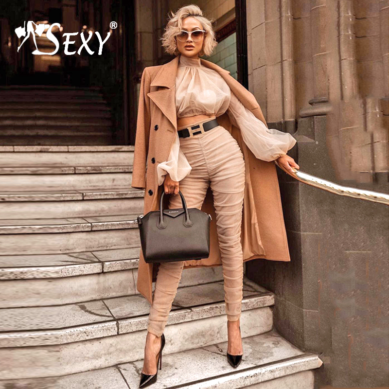Gosexy 2019 New Women Fashion Two Piece Sets Turtleneck Sexy Ruched Pant Suits Set Long Sleeve