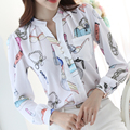 Fashion OL V Neck Blouse Woman Chiffon Puff Long Sleeve Printed Shirts Plus Size 3XL Spring Design Female Work Wears Blouses