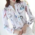 Moda OL V Cuello Blusa de La Gasa de La Mujer Puff Manga Larga Diseño impreso Camisetas Tallas grandes 3XL Primavera Femenina Trabajo Lleva blusas