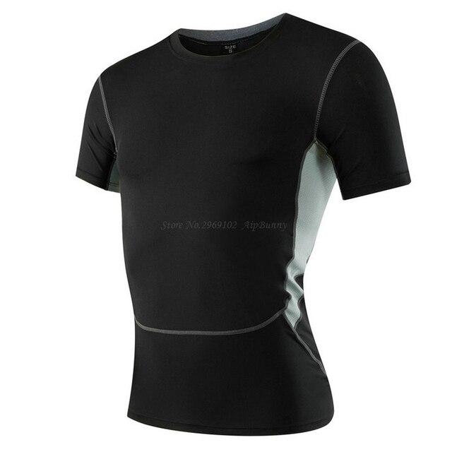Men's Cool Dry Compression Short Sleeves T-Shirt Big Boy Slim Fit Body Built Superelastic Crossfit Tops for Sport GYM Athletic