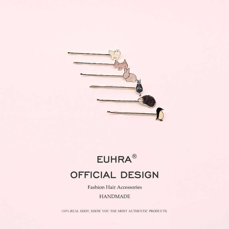 EUHRA 6 Colors Cute Animal Hair Pins Bobby Pin Women Rabbit Penguin Hedgehog Cat Dog Girls Hair Clip Kid Children Bob Pins
