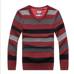 Men s v neck sweater new autumn and summer loose large size woolen youth stripes casual.jpg 250x250