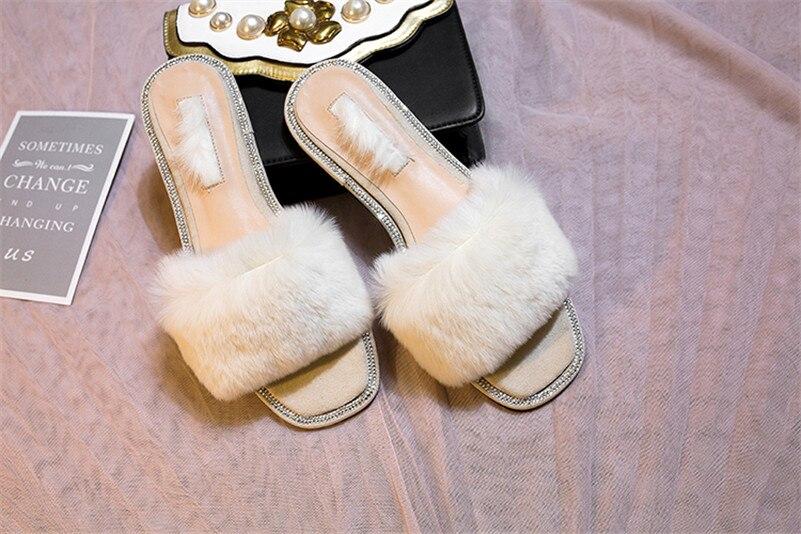 e242b523b47 CONASCO Top Quality Brand Women Rabbit Fur Summer Shoes Flats Heels ...