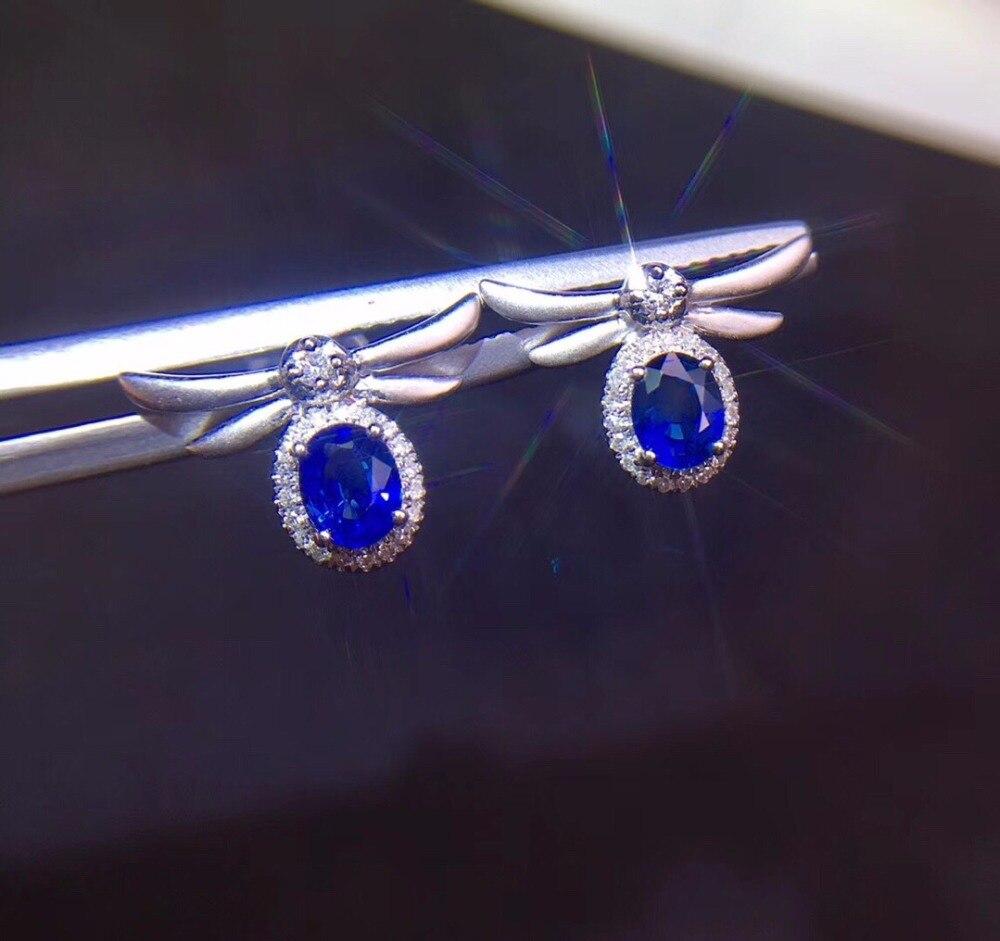 Fine Jewelry коллекция настоящее 18 К белого золота AU750 100% натуральный Королевский синий сапфир драгоценные камни происхождения серьги гвоздики д