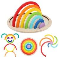 15 stücke Farbe Holz Spielzeug Montessori Materialien Regenbogen Brücke Montage Bord Pädagogisches Lernen Holz Spielzeug Für Kinder auf