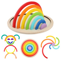 15pcs Color Wooden Toy Montessori Materials Rainbow Bridge Assembly Board Educational Learning Wood Toys For Kids