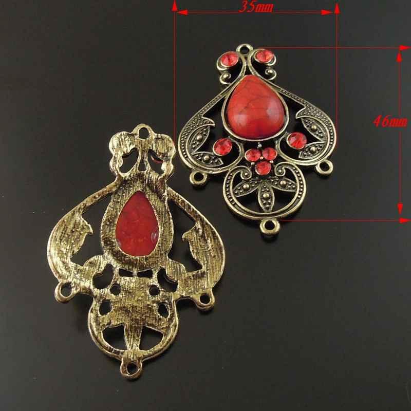 Оптовая продажа 4 шт. античная бронза сплав красный имитация драгоценных камней талисманы кулон ювелирные изделия Соединительная фурнитура 46*35*8 мм для цепочки и ожерелья