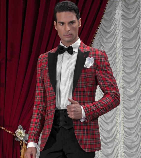 Black Red Men Tartan Suit Blazer Custom Made Groom Tuxedos Wedding ...