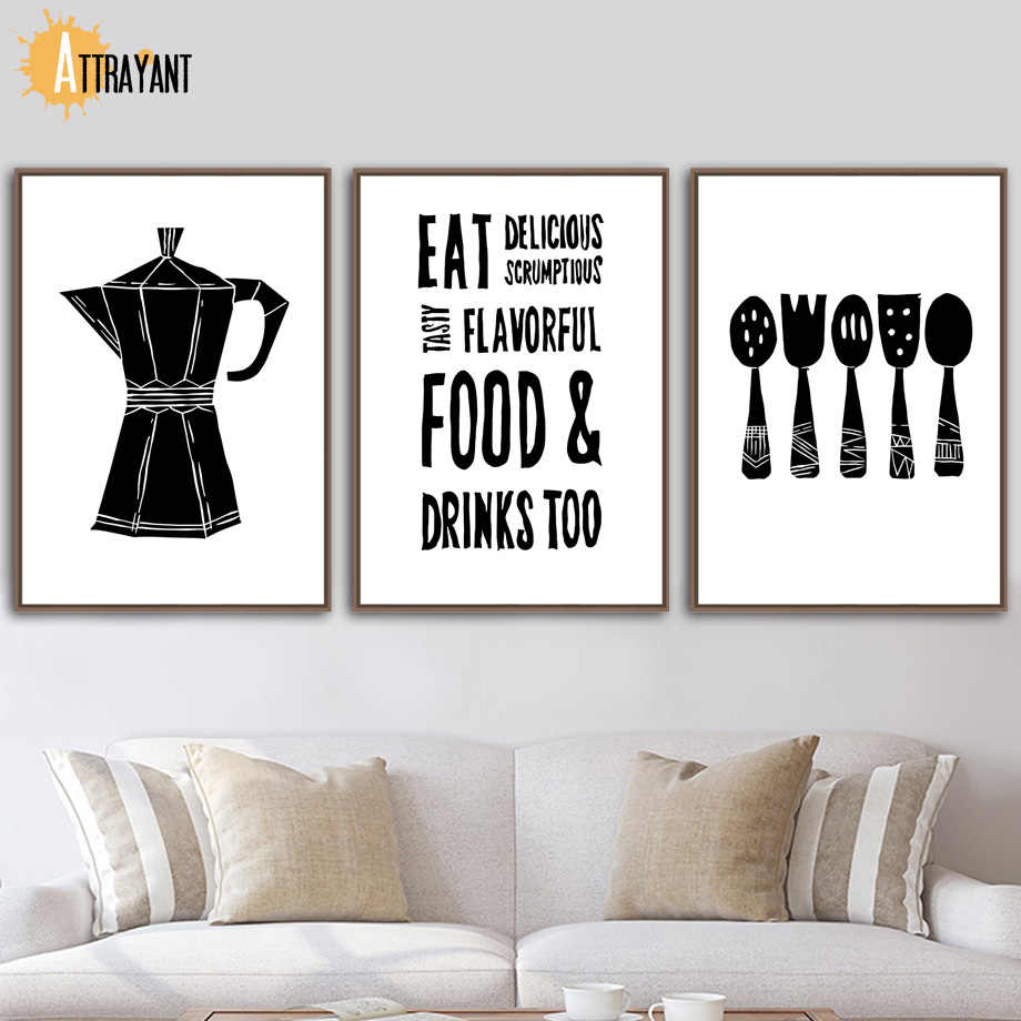 spoon fork coffee pot quotes nordic posters and prints wall art