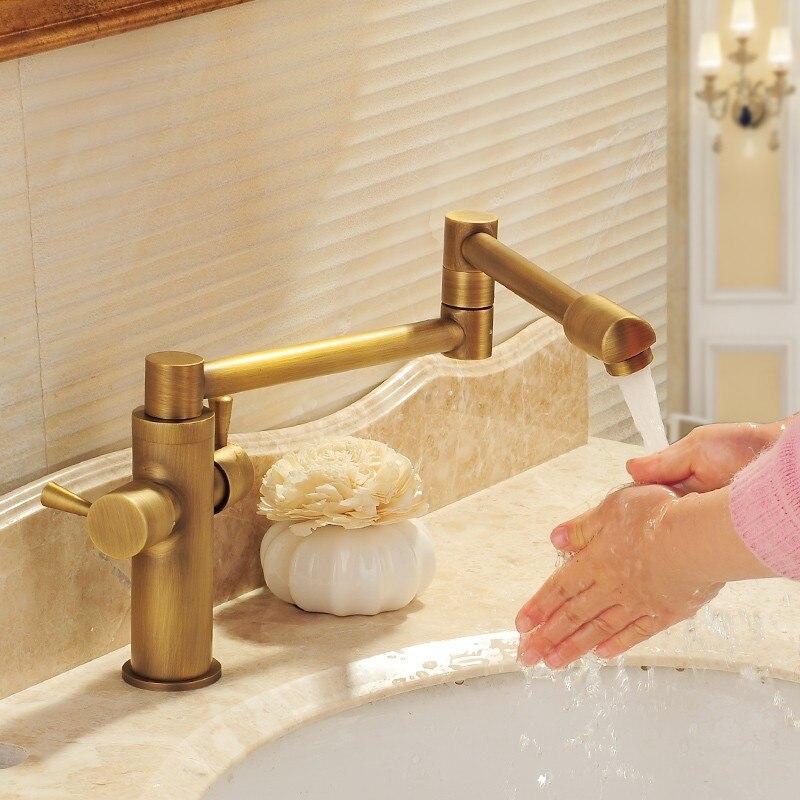 Cuisine Vintage bassin pliant robinet laiton 360 degrés rotatif légume bol robinet chaud et froid robinet pont monté double poignée noir