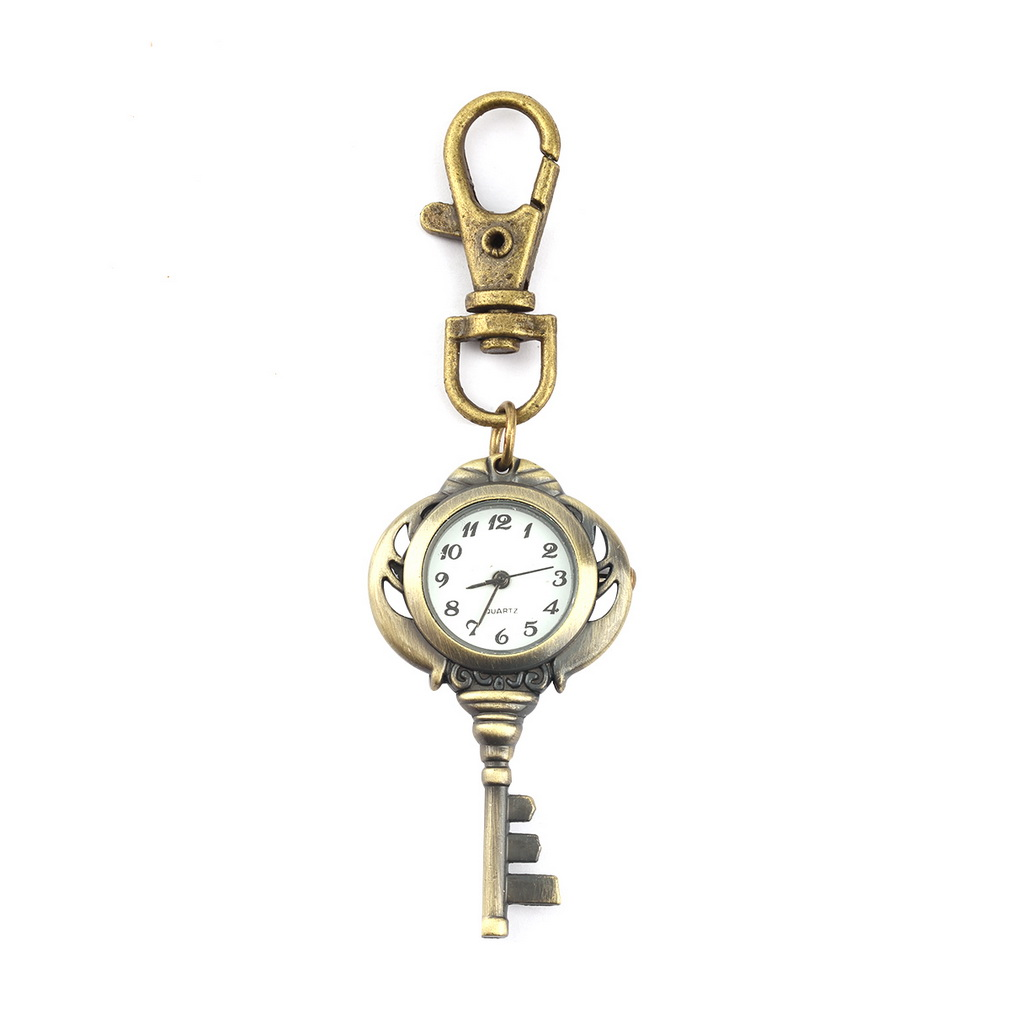 Vintage Antique Stainless Steel Quartz Pocket Watch Keychain Key Chain Unisex Gift