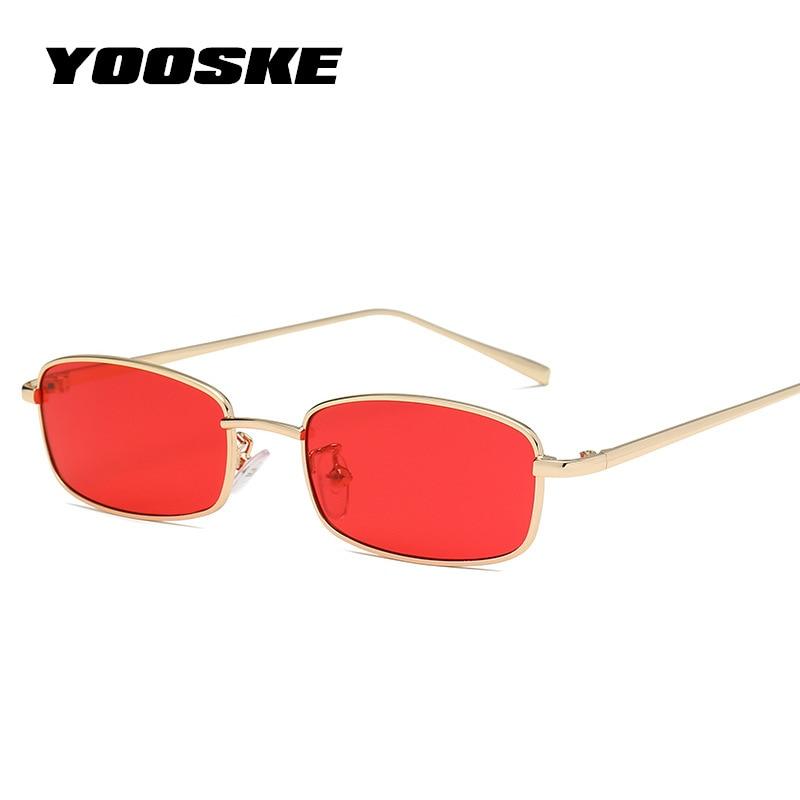 YOOSKE Small Square Sunglasses For Women Men Retro Red Sun Glasses Transparent Clear Lens Glasses Metal Frame Shades Eyewear