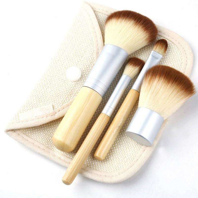 Fashion 4Pcs/Set  Portable Makeup Brushes Make Up Brush for Foundation Cosmetics Set Kit Tools Maquiagem Profissional
