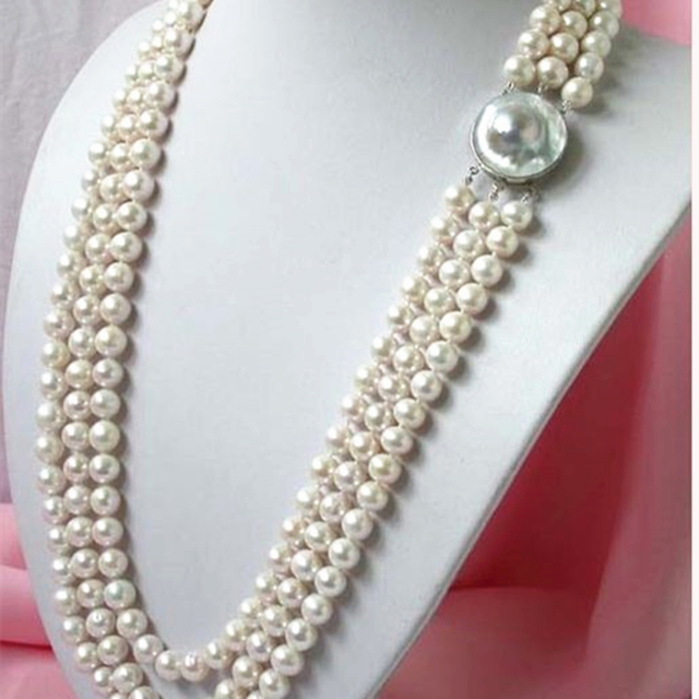 3 rows 8-9mm natural white freshwater cultured pearl necklace round beads jewelry for mother women best gifts 17-19inch MY4596
