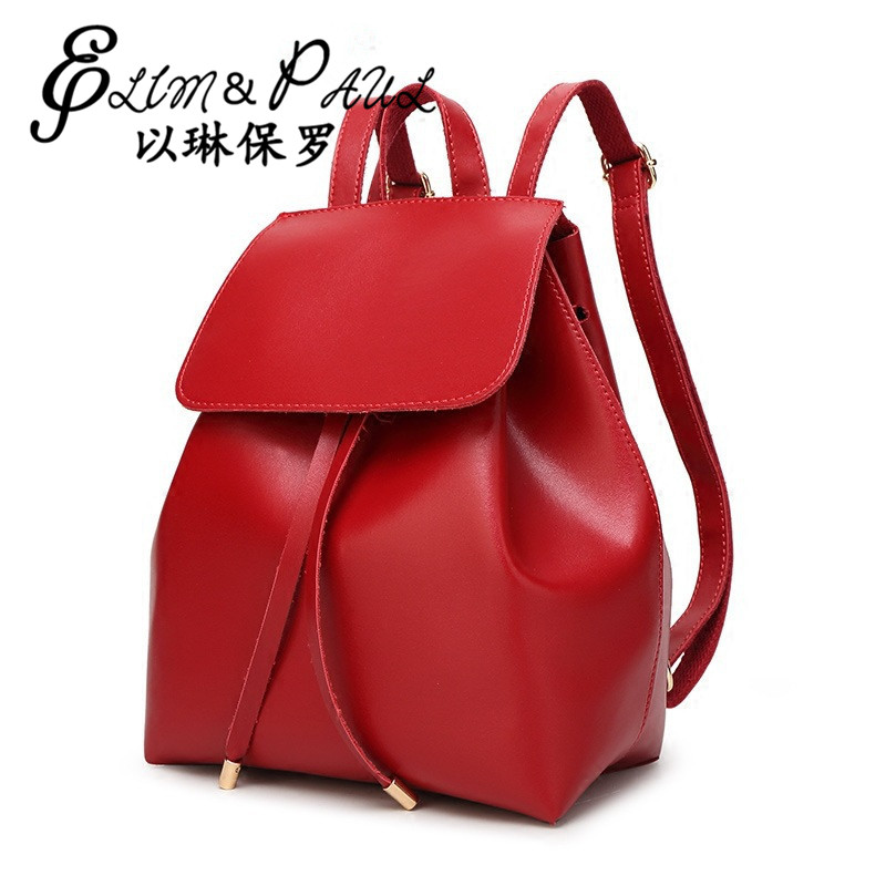 Japan and South Korea 2017 milk second floor leather backpack ladies large capacity exquisite craft leather