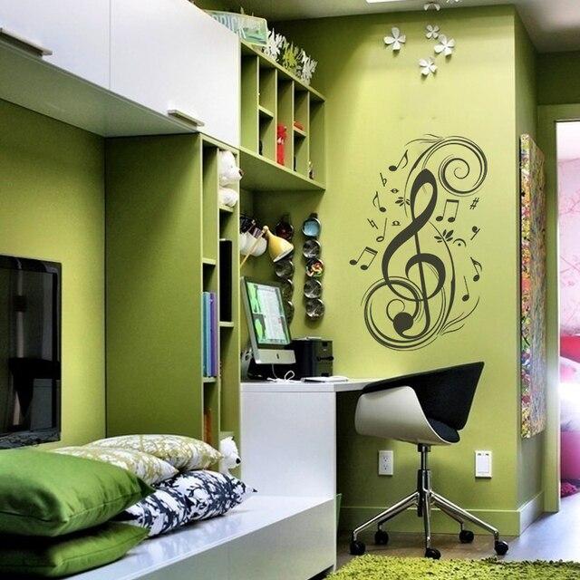 muzieknoten musical g sleutel muur vinyloverdrukplaatjesticker art design stijlvolle interieur decor slaapkamer grafische muurschildering 40