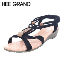 HEE GRAND Brand Summer Fashion White Shoes Flat Heel Gladiator Brief Herringbone Flip flop Sandals Flat