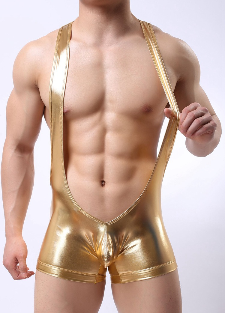 Topdudes.com - Men's High Quality Low Waist Sexy Imitation Leather Jumpsuits Underwear