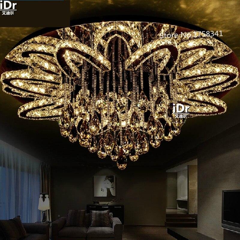 Lampe en cristal ronde créative salon LED plafonniers chambres confortables décorées avec éclairage de restaurant 90-260 V