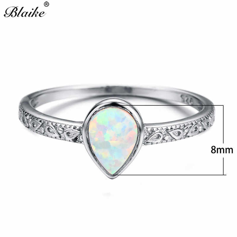 Blaike 925 เงินสีขาว/สีฟ้า/สีม่วงโอปอลแหวนผู้หญิงแฟชั่นหยดน้ำ Birthstone แหวนของขวัญ Vintage เครื่องประดับงานแต่งงาน