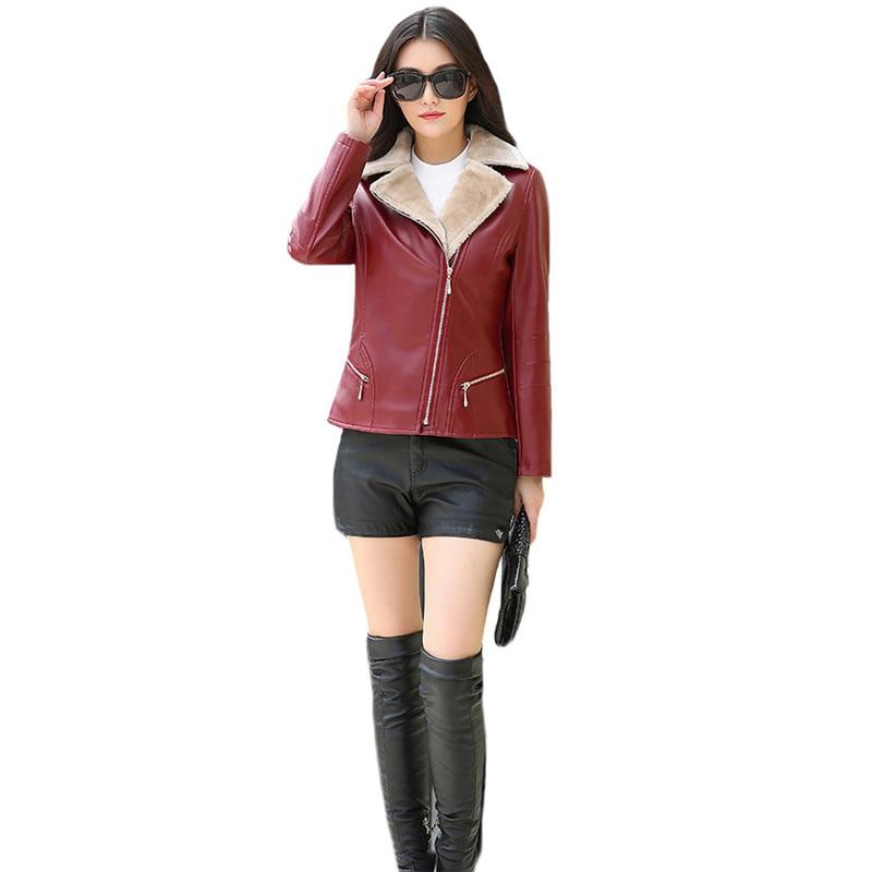 Jacket Women Black Wine Red L 7XL Plus Size Faux Leather Coats 2019 New Autumn Winter Korean Short Slim Plus Velvet Jacket JD343 in Leather Jackets from Women 39 s Clothing
